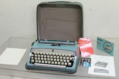 "BROTHER ""De Luxe"" Working Original 1966 Blue Typewriter With Leather Zip Case"