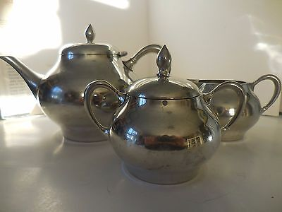 Made In HOLLAND MEEUWS PEWTER 3 Piece Tea Set