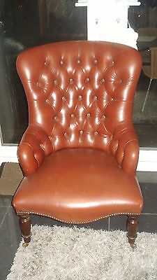 Antique Chesterfield Style Leather Nursing Chair