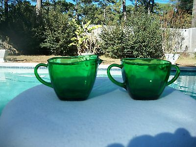 1950's ANCHOR HOCKING GLASS FOREST GREEN CHARM SUGAR & CREAMER
