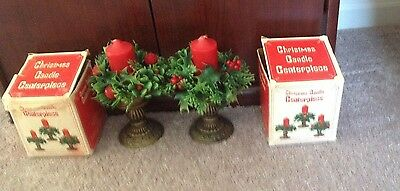 2 vintage JC penney christmas candle centerpieces w/ plastic candle rings