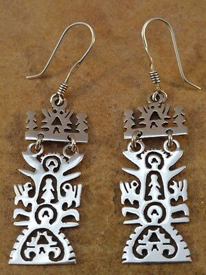 Beautiful Small Mexican Sterling Silver Tree Of Life  Earrings