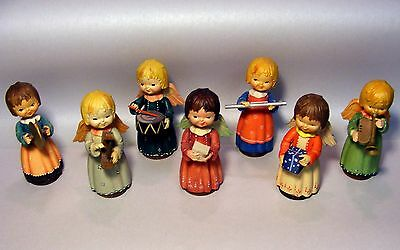Anri From Italy Lot Of 7 Handcrafted Wood Hand Painted Angel Orchestra Figurines