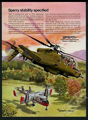 1969 US Army AH-56A Cheyenne helicopter art Sperry vintage print ad