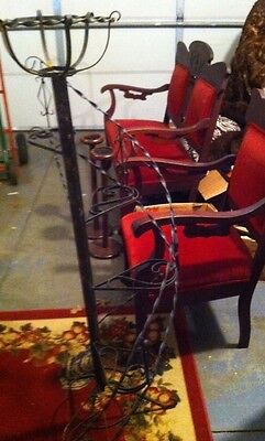 Vintage Black Wrought Iron Spiral Staircase Plant Stand with Steps