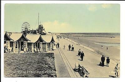 Old postcard: Lincs: 'Chalets and Beach, Mablethorpe'. Unmailed.