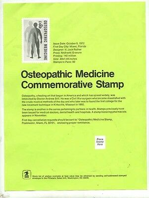U. S. Post Office Bulletin 8 Cent Osteopathic Medicine 1972
