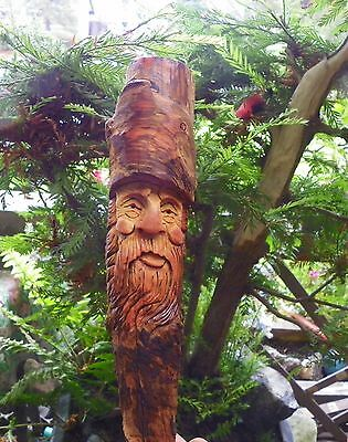 wood spirit carving magical gnome wizard whimsical hobbit gift ooak by gary