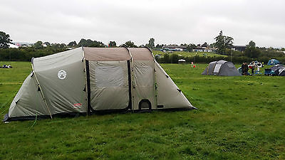 coleman mackenzie 6 tent excellent condition footprint carpet extrawning camping