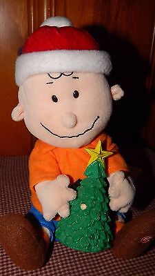 "Peanuts ""Merry Christmas"" Plush Charlie Brown Musical Friend Lights Up GUC"