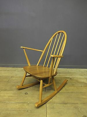 Ercol Quaker Rocking Chair, Mid Century, Retro, Blonde Elm