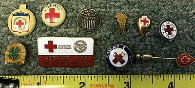Vintage Antique American Red Cross Pin Lot (10) Enamel/brass/tin Must See