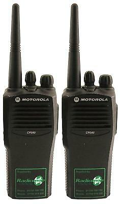 MOTOROLA CP040 VHF 5 WATT WALKIE-TALKIE TWO WAY RADIOS & G-SHAPE EARPIECES x 2