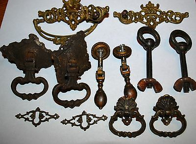 Antique LOT (12) drawer Pulls Salvage Key Escutcheon Brass Hardware Mixed Lot