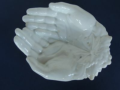 "1880-1890 White Ironstone figural cupped Hands tray soap dish 7.5"" KT & K"