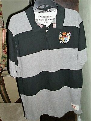Canterbury of New Zealand short sleeve black/gray striped rugby jersey SZ XL
