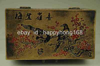 Chinese old brass Hand-carved Magpie Plum flower box