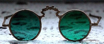 True Vintage 30' Antique Brass Folding Spectacles Green Glasses Round Sunglasses