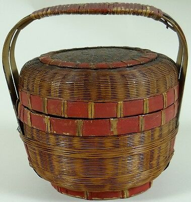 19th C Antique Vintage Wicker Basket Lid Handle Japanese Chinese Rustic SIGNED