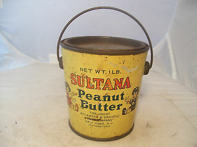 Very Nice Old Sultana A&p 1Lb.peanut Butter Advertising Tin W/lid