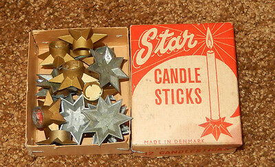 17 Vtg Star Metal Candle Holders Denmark With Box