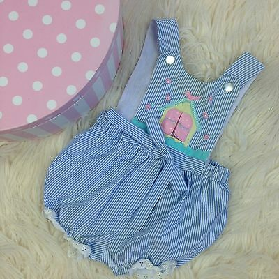 Vtg baby Romper Blue Girl 6-9 Months clothes clothing outfit