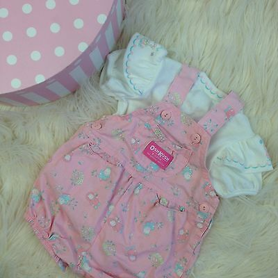 Vtg baby 6-9 Mo Pink Jumper Overalls Oshkosh Girl clothes clothing outfit