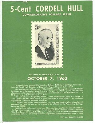 United States Post Office Bulletin 5 Cent Commemorative Stamp  Cordell Hull