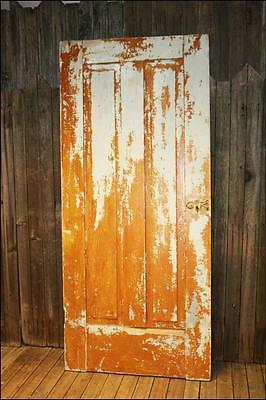 Vintage WOOD DOOR paneled wooden antique brown architectural salvage exterior #2