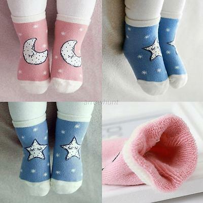 Cute Toddler Kids Baby Boys Girls Cotton Star Print Anti Slip Boots Ankle Socks