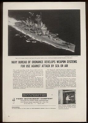 1956 USS Boston U.S. Navy guided missile carrier ship photo SR vintage print ad