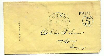 WARRINGTON Fla OCT 28 1861 PAID 5 DT IA on canary yellow cover to Macon GA