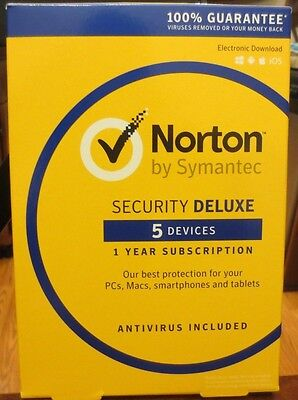 Norton Security Deluxe 2016 - 5 Device for PC/MAC/Android/iOS NEW