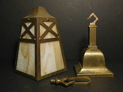 1920's Genuine Arts & Crafts Solid Brass Mission Style Slag Glass Light Fixture