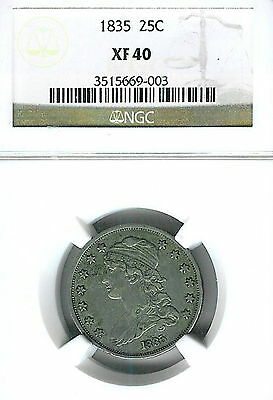 1835 Capped Bust Quarter : NGC XF40