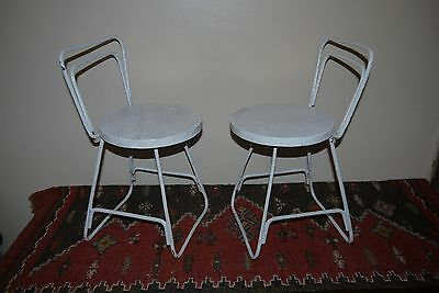 2 X Vintage RETRO Wrought Iron & Timber Wooden Kids Chairs High Back Stools