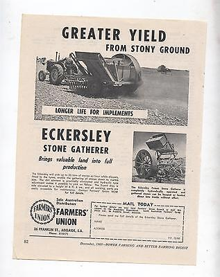 Eckersley Stone Gatherer Advertisement removed from Farming Magazine Tractor