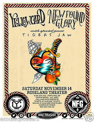 Yellowcard / New Found Glory / Tigers Jaw 2015 Portland Concert Tour Poster