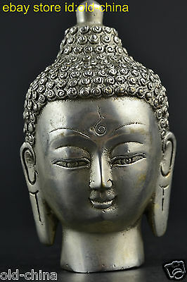 China Collectible Old Tibet Silver Handwork Devout Buddha Head Statue Decor