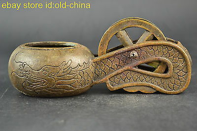 China Old Carpenter Orientation Tool Statue Vintage Copper Made Ink Line Box