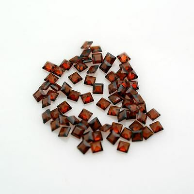 5 PIECES OF 3mm SQUARE-FACET DEEP-RED NATURAL MOZAMBIQUE GARNET GEMSTONES £1 NR!