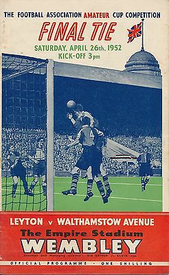 FA AMATEUR CUP FINAL 1952: Leyton v Walthamstow Avenue