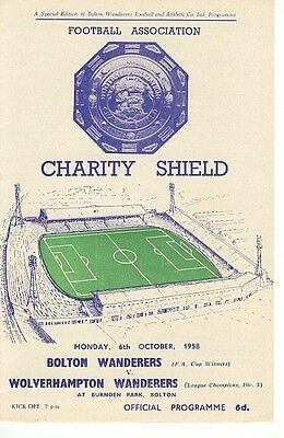 FA CHARITY SHIELD PROGRAMME 1958: Bolton v Wolves