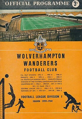 FA CHARITY SHIELD PROGRAMME 1959: Wolves v N Forest