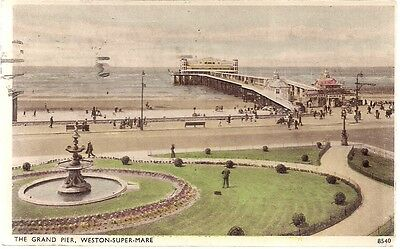 Lovely Rare Old Postcard - The Grand Pier - Weston Super Mare Somerset 1947