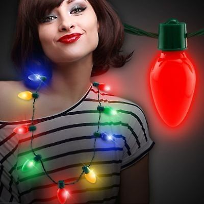 LED Light Up Christmas Bulb Necklace Party Favors for Adults or Kids  Flashing +