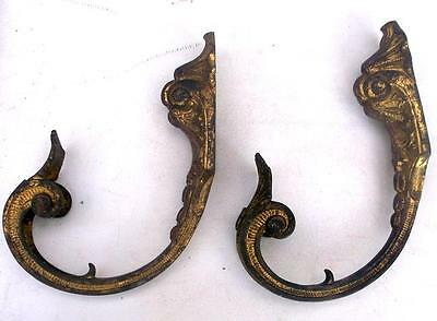 Large Pair of Antique French Bronze Curtain Tie Back Hooks / Wall Hooks