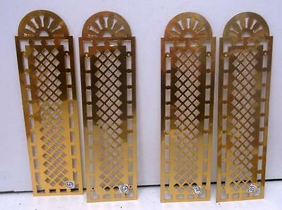 2 Pairs Vintage French Pierced Brass Door Finger Plates. New Old Stock #8A & 9A