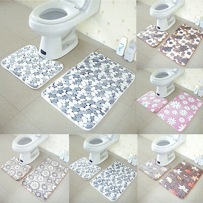 Soft 2pcs Floor Rug Carpet Bath Pedestal Mat Bathroom Shower Toilet Non slip Pad