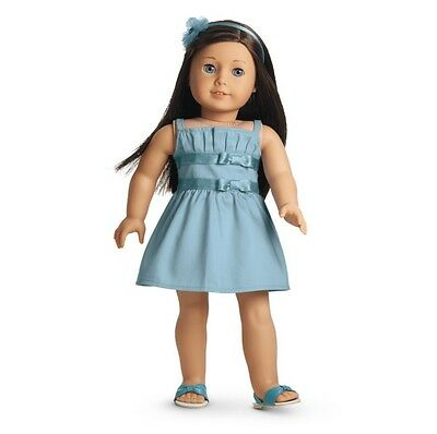 """AMERICAN GIRL 18"""" Outfit Double Bow Blue Dress Sandals for Doll - NEW IN BOX NIB"""